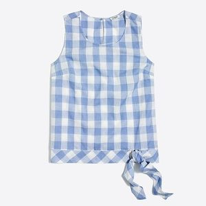 J. Crew Factory Blue Gingham Plaid Side Tie Top 6